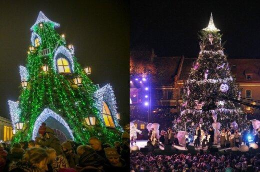 Vilnius and Kaunas light Christmas trees