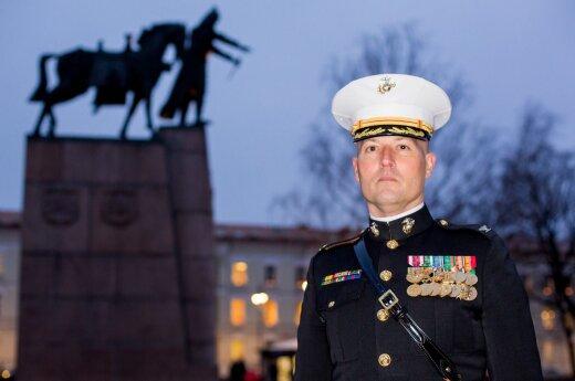US Marine colonel, Darius Novickis at Cathedral Sq. Vilnius