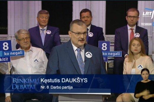 Kęstutis Daukšys of the Labour party during TV debate on LRT