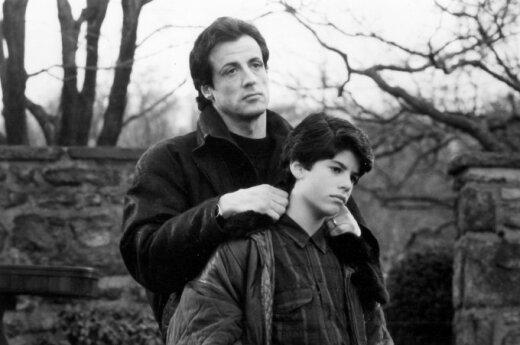 Sylvesteris Stallone su sūnumi Sage'u Stallone 1990 m.