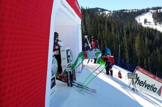 Rokas Zaveckas starts the men's giant slalom race in the 2015 FIS Alpine World Championships at Beaver Creek, Colorado, Friday