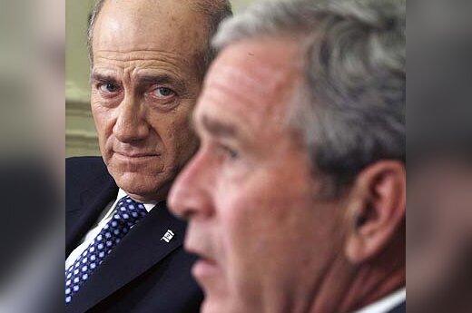 Ehudas Olmertas ir George'as W. Bushas
