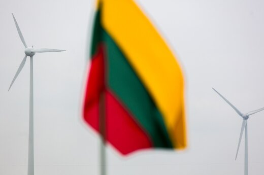 Wind mill and the Lithuanian flag