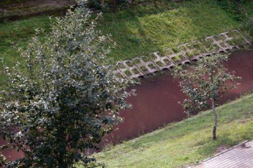 Воды палангской реки после дождя окрасились в красный цвет