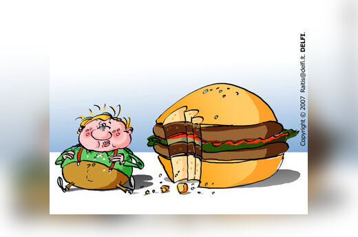 Greitas maistas, mėsainis, nutukimas - karikatūra