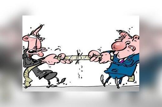 Valdžios dalybos, koalicijos nestabilumas - karikatūra
