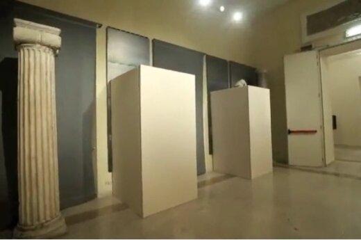 Viešint Irano prezidentui Kapitolijaus muziejuje uždengtos nuogų asmenų skulptūros