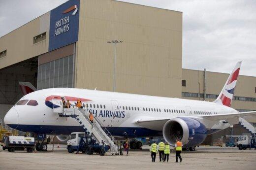 "Oro linijų bendrovės ""British Airways"" Boeing 787 Dreamliner Londono Heathrow oro uoste"