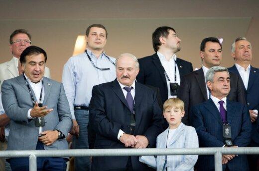 М.Саакашвили, А.Лукашенко с сыном