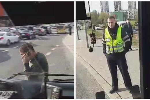 Странная ситуация в Вильнюсе: после ссоры с контролерами у водителя лопнуло терпение