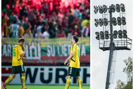 Dėl apšvietimo stulpų Lietuvos rinktinei gali tekti palikti LFF stadioną