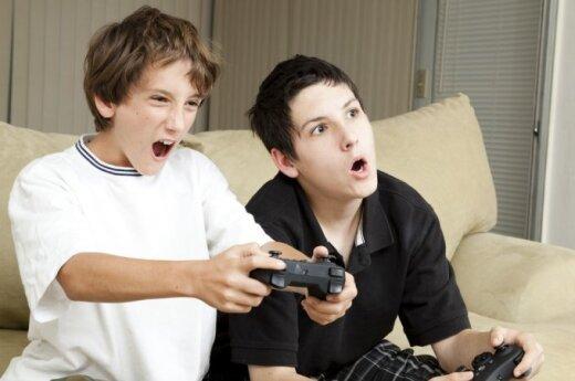 vaikas, berniukas, paauglys, draugai, kompiuteris, žaidimas, broliai