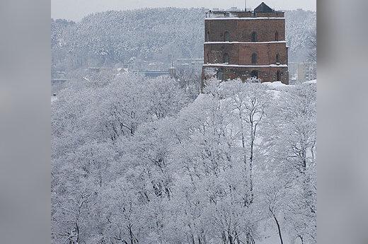 Žiema, sniegas, šaltis, Gedimino bokštas