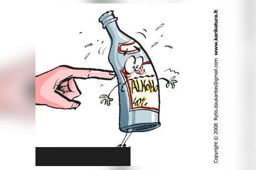 Kova su alkoholiu, karikatūra