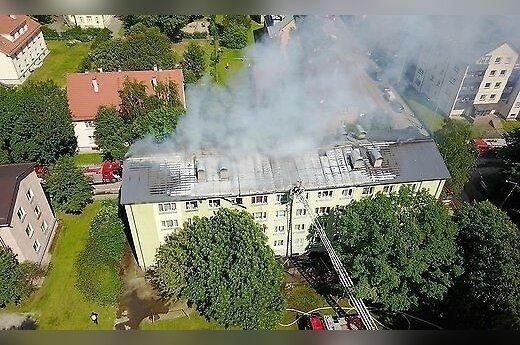 ФОТО и ВИДЕО: после взрыва газа начался пожар в четырехэтажке в Таллине