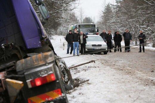 На окраине Вильнюса из-за ДТП образовался затор