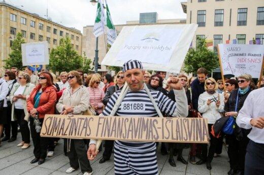 Mokytojų streikas prie Vyriausybės