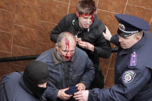 В Харькове битами избили сторонников единой Украины