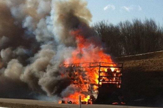 На магистрали Вильнюс-Паневежис сгорел грузовой автомобиль