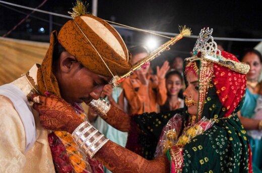 Pakistano hinduistų vestuvių ceremonija Karačyje