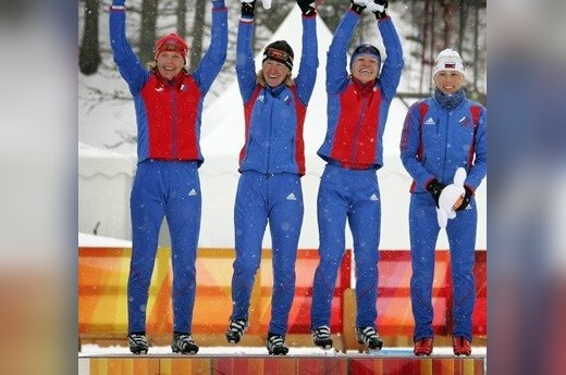 Rusijos slidininkės Natalija Baranova, Larisa Kurkina, Julija Čepalova ir Jevgenija Medvedeva