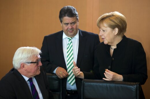 Germany's Foreign Minister Frank-Walter  Steinmeier, Minister of Economics Minister Gabriel and Chancellor Angela Merkel
