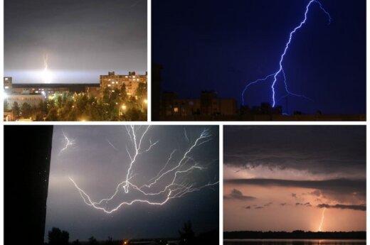 Po didžiulių karščių - įspūdingi žaibai