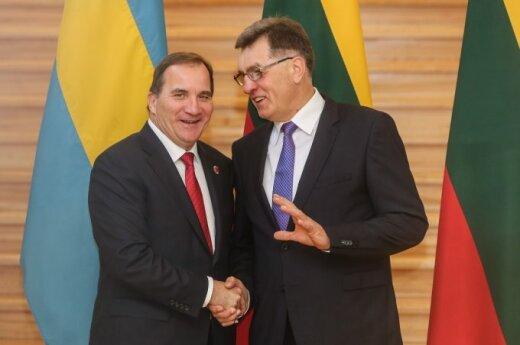 Sweden's Prime Minister Stefan Löfven and Lithuania's Algirdas Butkevičius