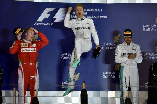 Kimi Raikkonenas, Nico Rosbergas ir Lewisas Hamiltonas