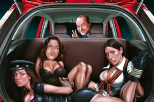 """""""Ford"""" reklama su Silvio Berlusconi ir surištomis moterimis"""