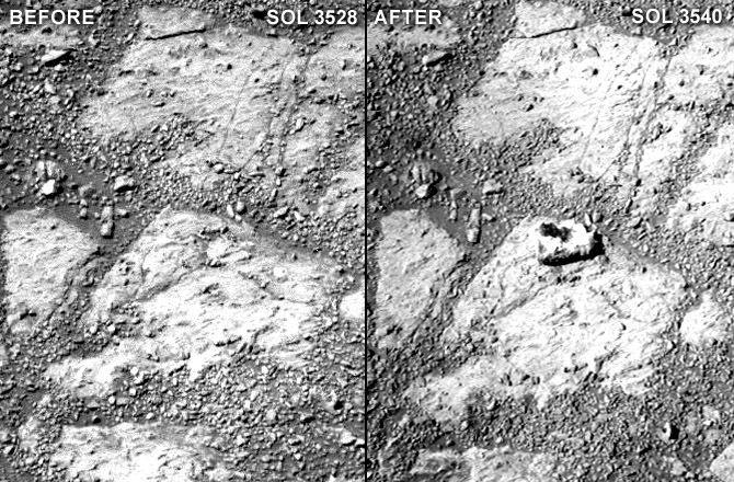 Prie marsaeigio paslaptingai prisėlinęs akmuo<br>NASA nuotr.