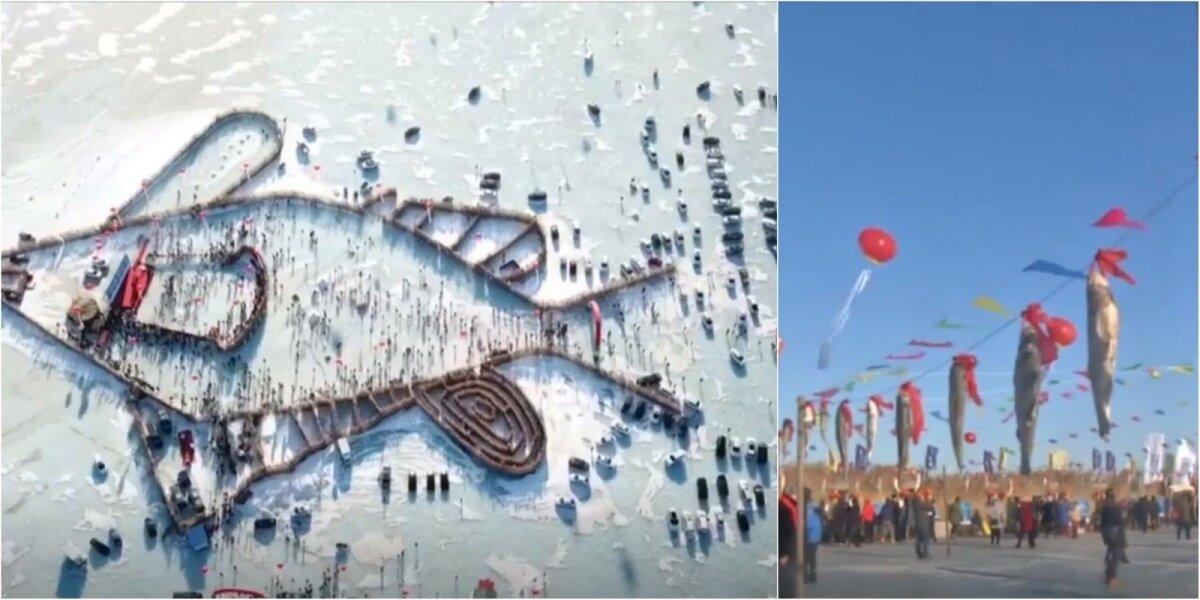 Akimirka iš Kinijos žiemos žvejų festivalio