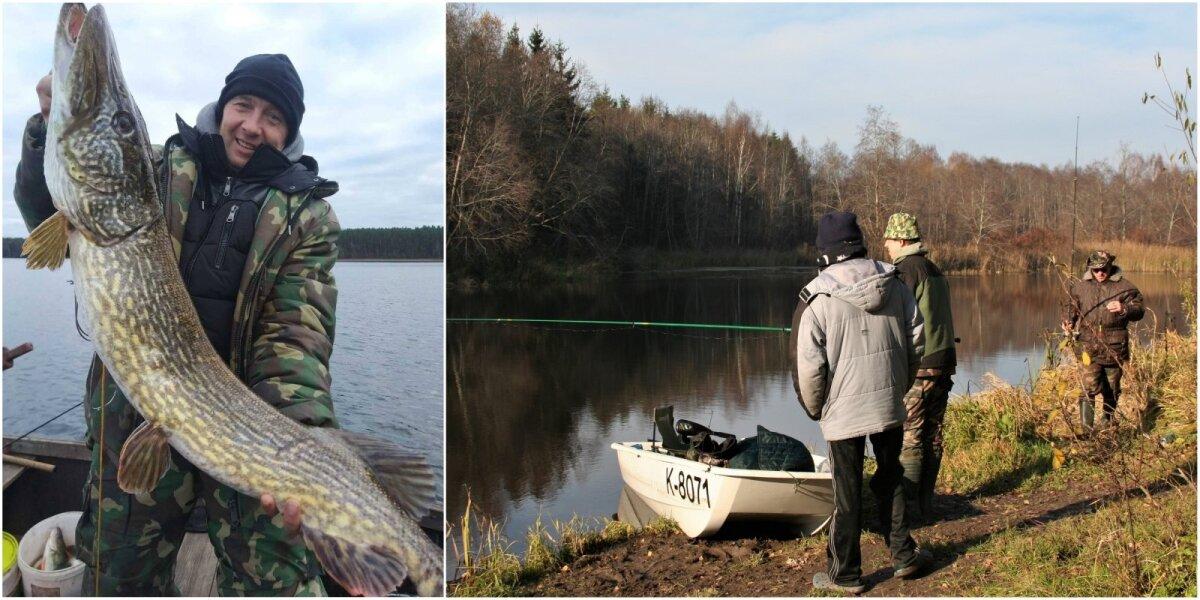 Meškeriotojas Algis su Molėtų rajono ežere pagauta lydeka (kairėje); Žvejai prie Angrių užtv. (dešinėje)