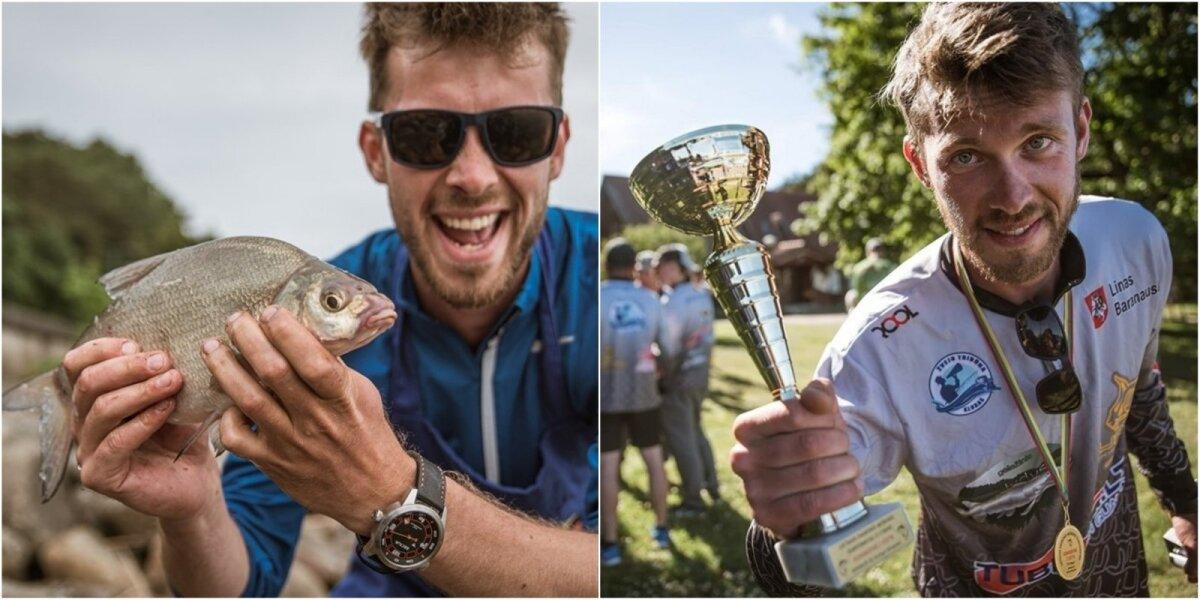 Linas Baranauskas su savo sugautu karšiu (kairėje); su laimėta taure (dešinėje)