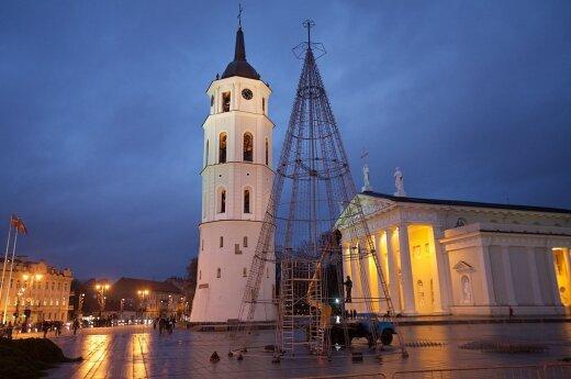 Choinka na placu Katedralnym stanie przed Adwentem